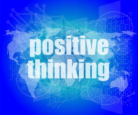 positive thinking on screen - motivation business concept photo