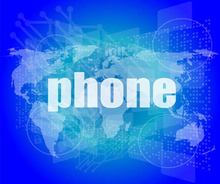 touch screen phone: phone word on digital touch screen, business concept Stock Photo