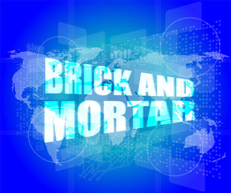 Management concept: brick and mortar words on digital screen photo