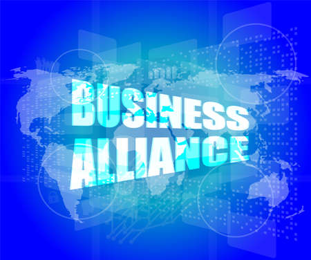 Management concept: business alliance words on digital screen photo