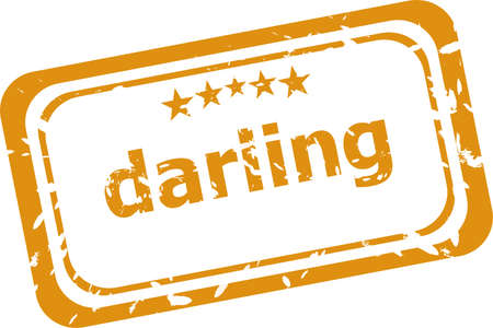 darling: darling word on rubber old business stamp