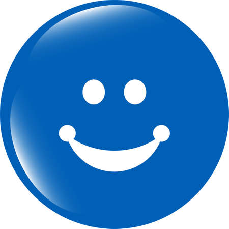 Smile icon glossy button isolated on white background photo