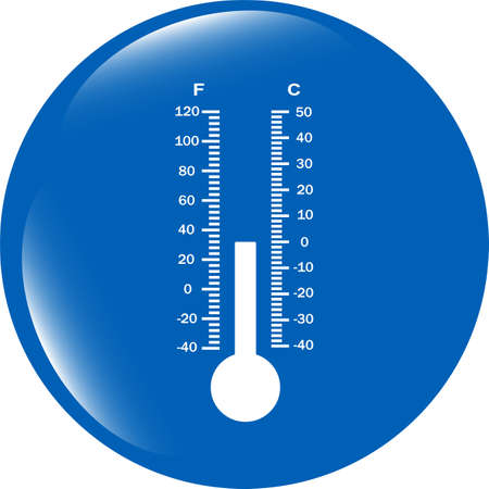 Thermometer web icon button isolated on white background photo