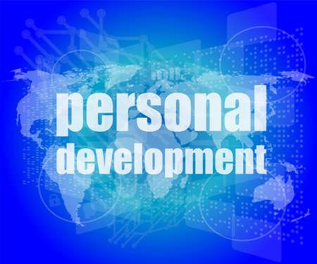 word personal development on digital screen 3d photo