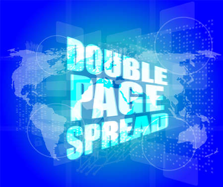 spread the word: double page spread word on digital touch screen Stock Photo