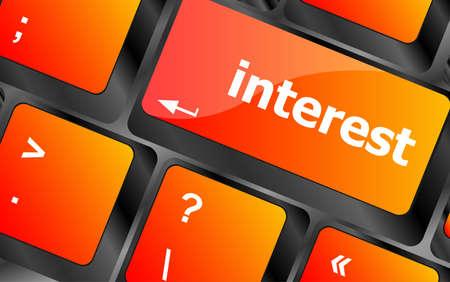 fringe benefit: interest - business concept. button on modern computer keyboard
