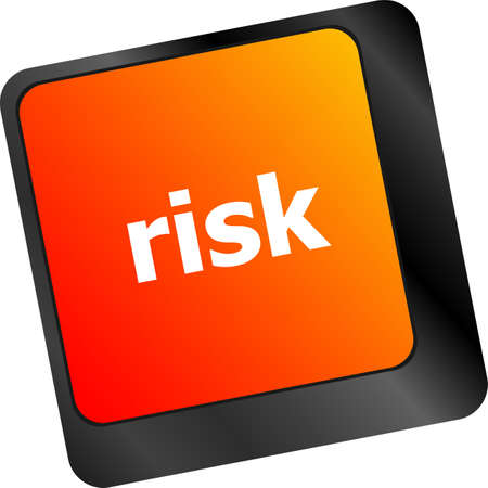 risk management keyboard key showing business insurance concept photo