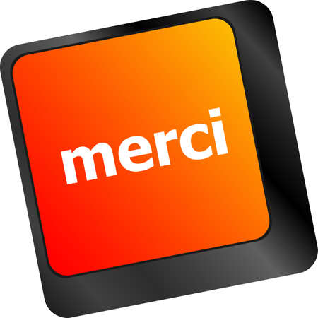 merci: thank you (merci) word on computer keyboard key