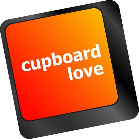 cupboard love words showing romance and love on keyboard keys photo