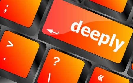 button computer: profundamente palabra en tecla del teclado, bot�n del ordenador port�til