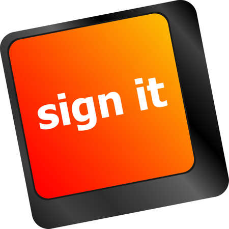 sign it or login concept with key on computer keyboard photo