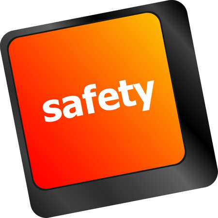 safety first: safety first concept with key on computer keyboard