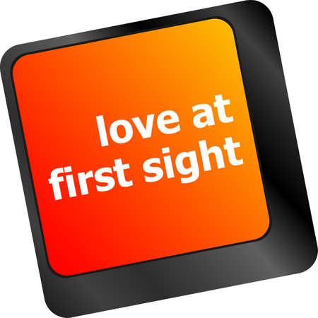 first sight: love at first sight, keyboard with computer key button Stock Photo