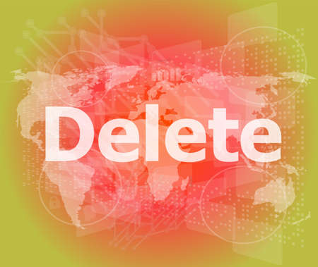 The word delete on digital screen, information technology concept photo