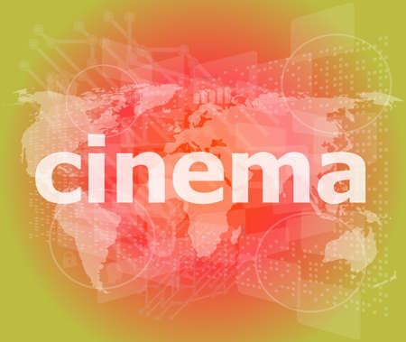 cinema word on digital screen with world map photo
