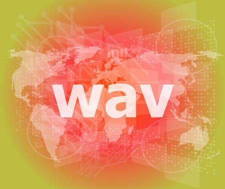mpg: digital concept: wav word on digital screen Stock Photo