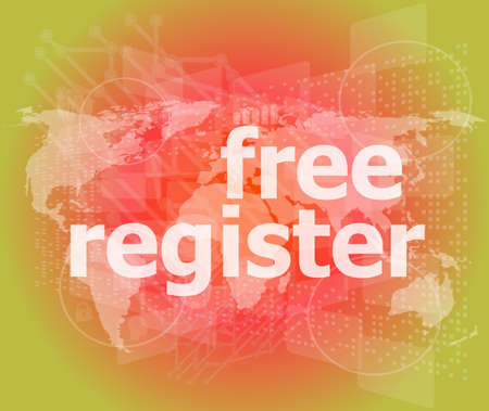 digital background with free registration word. global internet concept photo