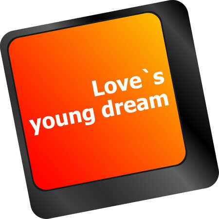 internet dating: love s young dream on key or keyboard showing internet dating concept Stock Photo