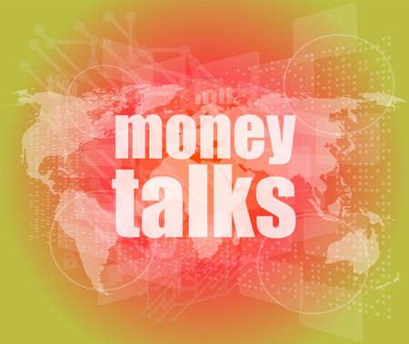 conversaciones: dinero habla palabra en la pantalla t�ctil digital businness