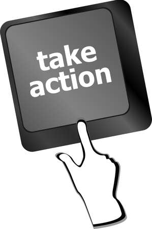 take action: Take action key on a computer keyboard, business concept Stock Photo