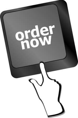 Order now computer key showing online purchases and shopping photo