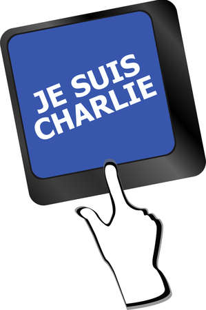 massacre: Je Suis Charlie text on keyboard keys, movement against terrorism Stock Photo