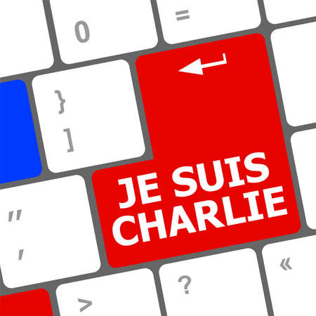 against: Je Suis Charlie text on keyboard keys, movement against terrorism Stock Photo