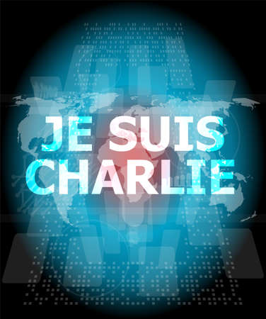 charlie: Je Suis Charlie text on business touch screen, movement against terrorism