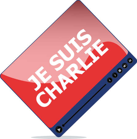 charlie: Je Suis Charlie text on media player, movement against terrorism Stock Photo