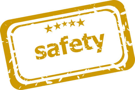 safety stamp isolated on white background photo