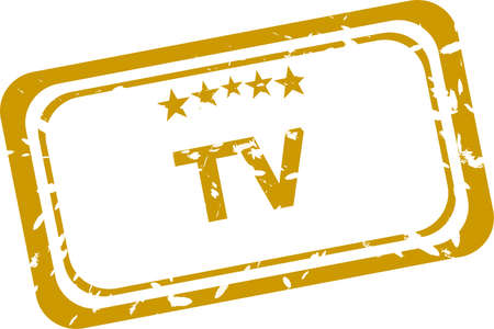 tv stamp isolated on white background photo