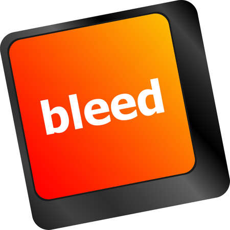 bleed: bleed word on keyboard key, notebook computer button Stock Photo