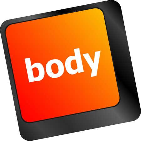 button computer: palabra cuerpo en tecla del teclado, bot�n del ordenador port�til Foto de archivo