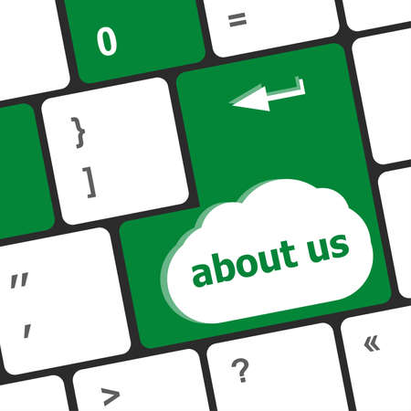 Marketing concept: computer keyboard with word About Us, selected focus on enter button background, 3d render photo