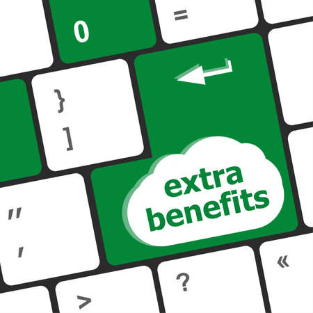 extra benefits button on keyboard - business concept photo