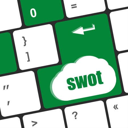 SWOT word on computer keyboard key button photo