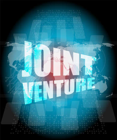 joint venture: joint venture words on digital screen background with world map Stock Photo