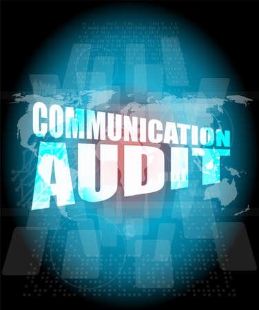 Management concept: communication audit words on digital screen photo