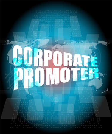 promoter: corporate promoter words on digital screen with world map