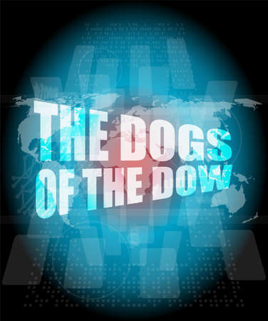 dow: The dogs of the dow word on digital screen Stock Photo
