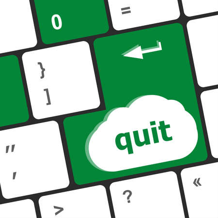 quit button on black internet computer keyboard photo