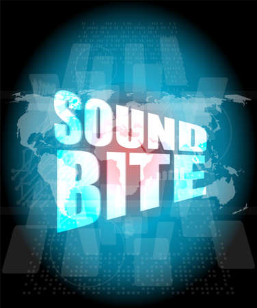 sound bite: sound bite words on digital screen background with world map