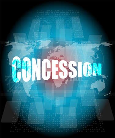 concession: Management concept: concession words on digital screen