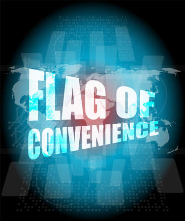 convenience: flag of convenience word on digital touch screen