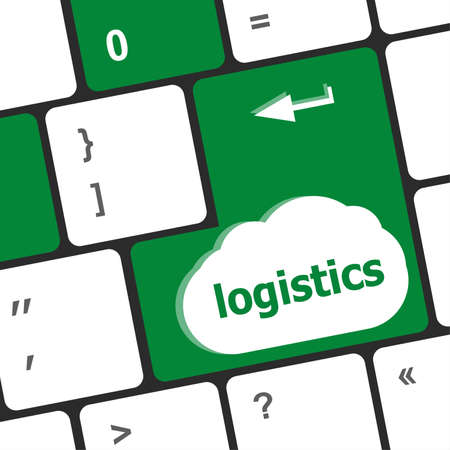 logistics words on laptop keyboard, business concept photo