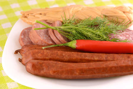 pepper salami: salami, sausages and red pepper Stock Photo