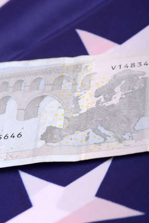 european money: european money on american flag