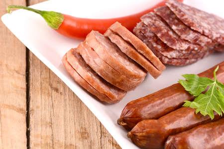 pepper salami: salami and red pepper