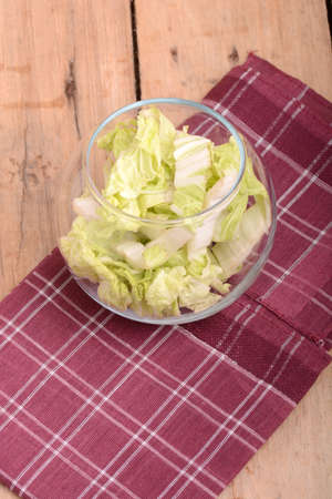 chopped: Cabbage chopped in glass bowl