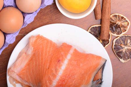 salmon filet: salmon filet with old lemons and cinnamon